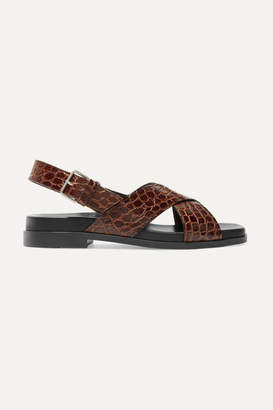 Prada Croc-effect Leather Slingback Sandals - Brown