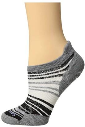 Smartwool PhD Run Ultra Light Striped Micro (Medium Gray) Women's Crew Cut Socks Shoes