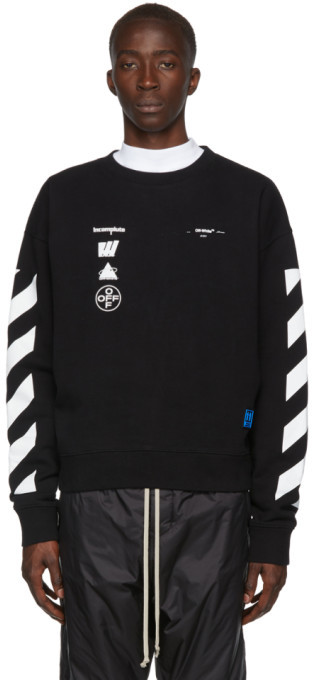 Off-White Black and White Oversized Diag Mariana de Silva Sweatshirt
