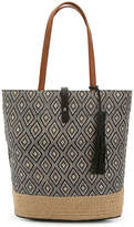 Kelly & Katie Women's Suselle Tote -Black/Tan Geometric Straw