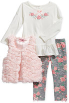 Nannette 3-Pc. Faux Fur Vest, Pepum Tunic & Floral-Print Leggings Set, Toddler & Little Girls (2T-6X)