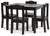 Tot Tutors Kids Wood Table and 4 Chairs Set, Espresso (Espresso Collection)