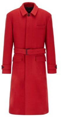 HUGO BOSS Relaxed-fit coat in virgin wool with detachable belt