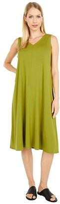 Eileen Fisher V-Neck Calf Length Flare Dress (Goldenrod) Women's Dress