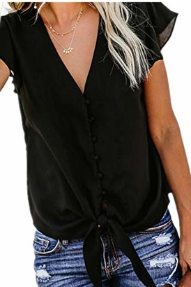 Ecrocoo Women's Henley Tops V Neck Button Down Shirt Tops Ruffle Cap Sleeve Tie Front Knot Plus Size Blouse and Shirts Black 2XL
