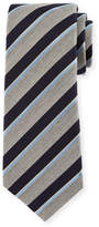 Kiton Melange-Stripe Silk Tie, Gray