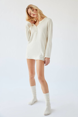 Out From Under Lounge Around Long Sleeve Henley Slip