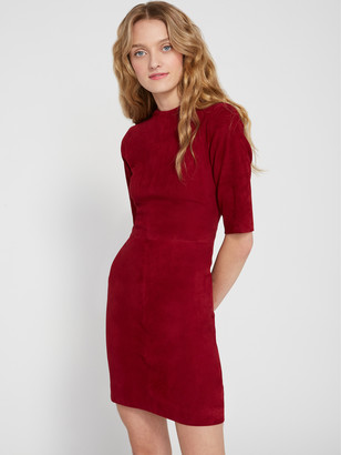 Alice + Olivia Inka Suede Mock Neck Midi Dress