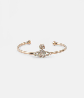 Vivienne Westwood Grace Bas Relief Open Bangle Pink Gold-Tone