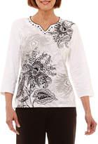 Alfred Dunner Easy Going 3/4 Sleeve Split Crew Neck Scroll T-Shirt-Womens Petites