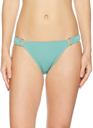 Mae Amazon Brand Women's Swimwear Point Lookout Ribbed D-ring Bikini Bottom