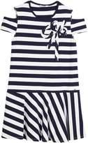 Mayoral Cold-Shoulder Stripe Dress, Size 8-16