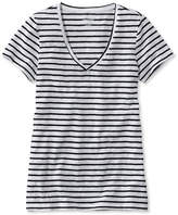 L.L. Bean Womens West End Fitted Tee, Short-Sleeve V-Neck Stripe