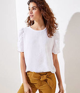 LOFT Cinched Puff Sleeve Top