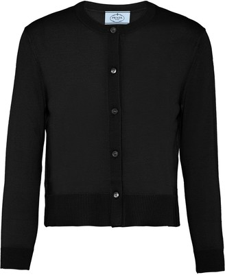 Prada Buttoned Three-Quarter Sleeve Cardigan