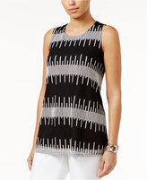 Alfani Embroidered Mesh Top, Only at Macy's