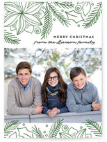 Minted Snow Florals Christmas Photo Cards