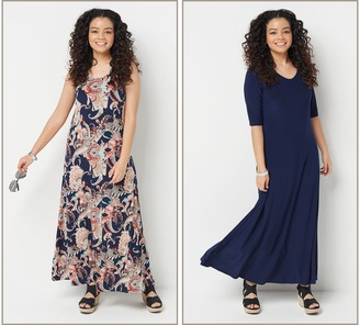 Women With Control Attitudes by Renee Petite Set of 2 Printed & Solid Maxi Dresses