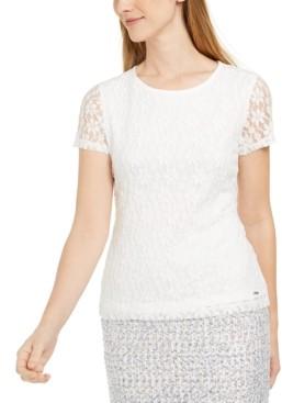 Calvin Klein Short-Sleeve Lace Top