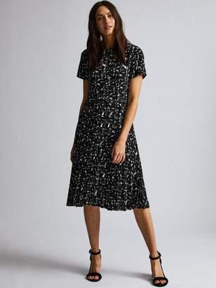 Dorothy Perkins Marble Pleated Midi Dress - Black