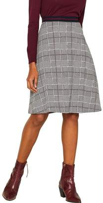 Esprit Womens Red Knitted A-Line Skirt With Check Pattern - Red