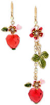 Betsey Johnson Gold-Tone Flower and Heart Mismatch Earrings