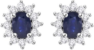 Shah Diamonds 14K White Gold 7/8ct TDW Diamond and 2ct TDW Blue Sapphire Starburst Earring Jackets