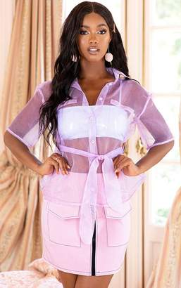 PrettyLittleThing Lilac Sheer Short Sleeve Tie Detail Shirt