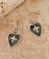 Pewter Cross My Heart Earrings
