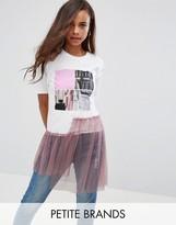 Boohoo Petite Graphic T-shirt With Mesh Hem