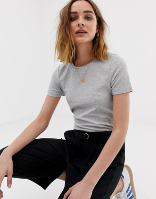 Pieces ribbed t-shirt-Gray