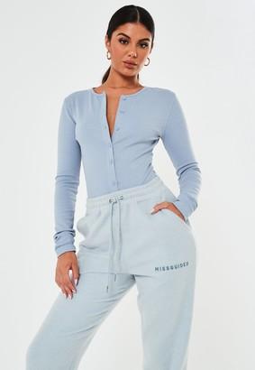 Missguided Tall Blue Rib Button Front Bodysuit