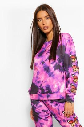 boohoo Tie Die Butterfly Print Sweater