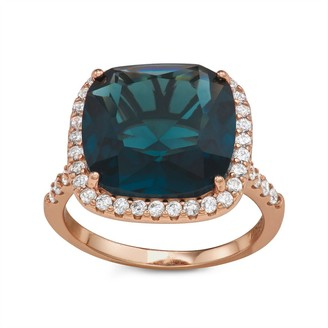 Sterling Silver Rose Gold Plated Bold Sim London Blue Ring By Gioelli