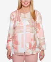 Alfred Dunner Petite La Dolce Vita Floral-Print Collarless Jacket