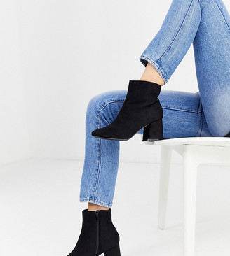 New Look Wide Fit faux suede heeled ankle boots in black