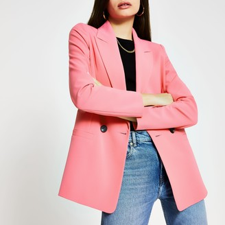 River Island Womens Pink double breasted blazer
