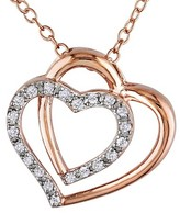 Allura 1/10 CT. T.W. Diamond Double Heart Pendant Necklace in Pink Plated Sterling Silver