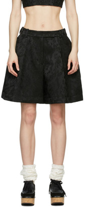 Simone Rocha Black Taffeta Sculpted Shorts