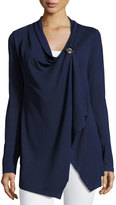 Neiman Marcus Draped Button-Front Cardigan, Navy/Heather Gray