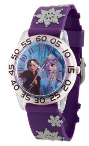 EWatchFactory Disney Frozen 2 Elsa and Anna Girls' Clear Plastic Time Teacher Watch 32mm