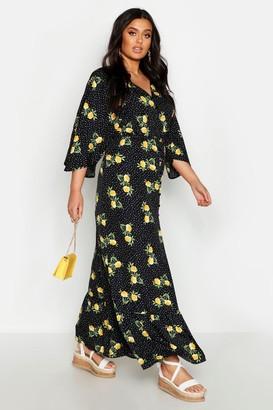 boohoo Plus Floral Spot Print Button Up Maxi Dress