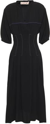 Marni Embroidered Crepe Midi Dress