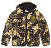 Versace Black and Gold Baroque Print Puffer Coat
