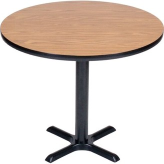 """Round Bar and Cafe Table with X Base and Column Correll, Inc. Size: 48"""" Diameter, Top Finish: Walnut"""