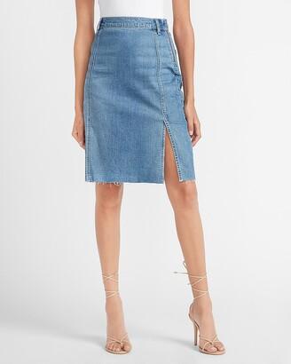 Express Super High Waisted Raw Hem Denim Midi Skirt