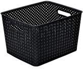 Kennedy International Resin Wicker Storage Tote Black-Large 13.75 X 11.50 X 8.75- Basket Weave