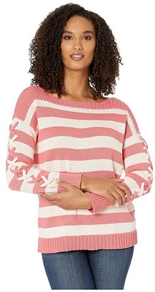 CeCe Long Sleeve Striped Boatneck Sweater with Lacing (Grapefruit) Women's Clothing