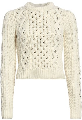 Michael Kors Studded Cable Knit Cashmere Pullover Sweater