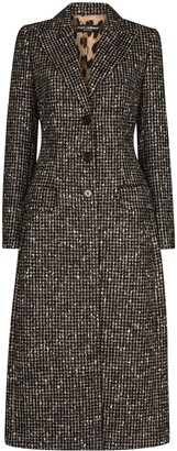 Dolce & Gabbana Houndstooth-Pattern Single-Breasted Coat